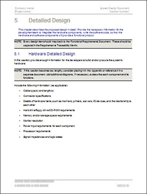 technical documentation template design document ms word template