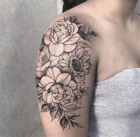 foto de Floral shoulder cap Shoulder tattoos for women Tattoos