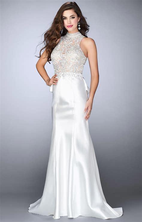 gigi  sleeveless high neck lace dress prom dress