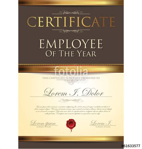 certificate template employee   year stock image