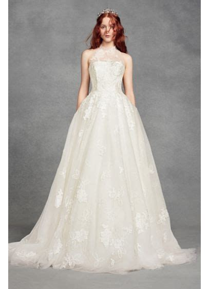 White By Vera Wang Illusion Floral Wedding Dress Davids