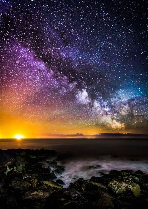 Starry Sky Colorful Night Ocean Water Clouds Stars Sun