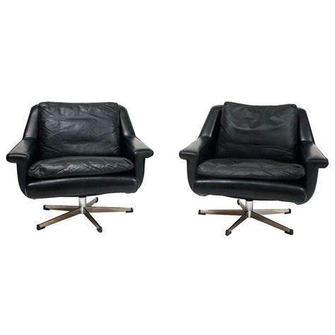 Leather Swivel Chair At 1stdibs by German Black Leather Swivel Chairs At 1stdibs