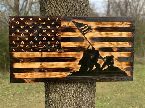 iwo jima rustic wooden flag   products