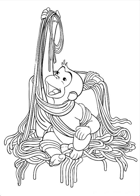 curious george coloring pages eating noodles coloringstar