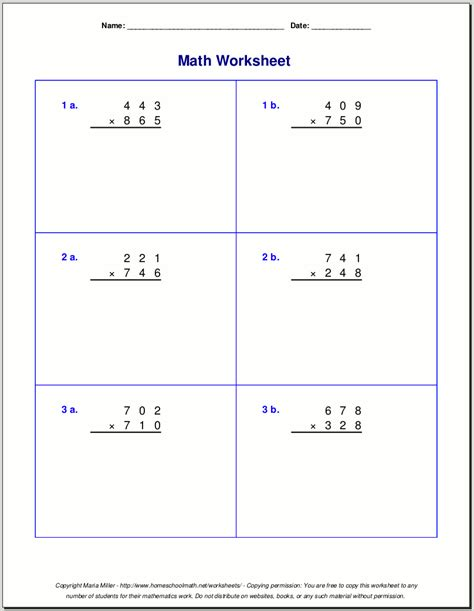 3 digit by 1 digit multiplication worksheets