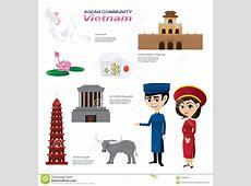Cartoon Infographic Of Vietnam Asean Community Stock