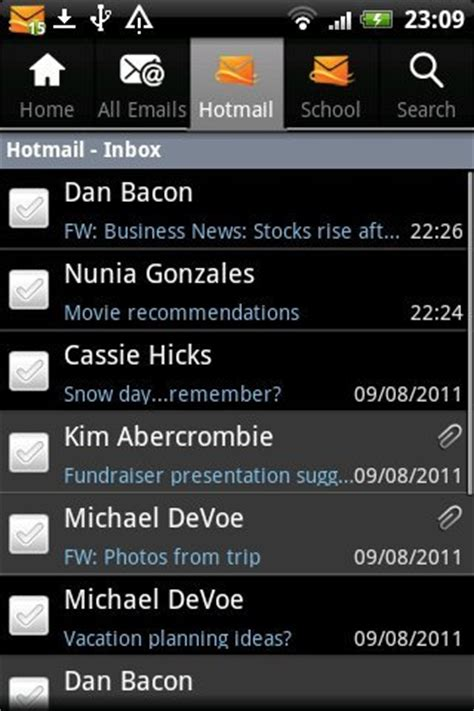hotmail email app android free hotmail app for kindle syncs email contacts