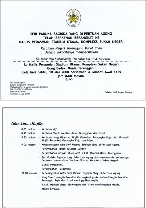 contoh surat rasmi jemputan majlis contoh fore