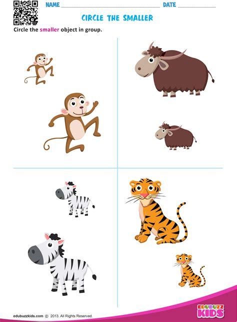 preschool kindergarten math big  small worksheets