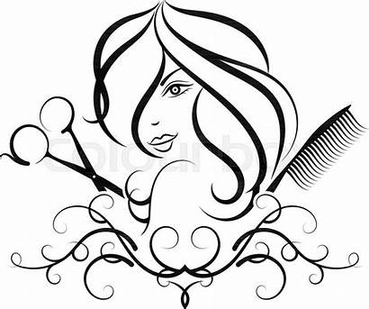 Salon Hair Beauty Drawing Hairdresser Vector Silhouette