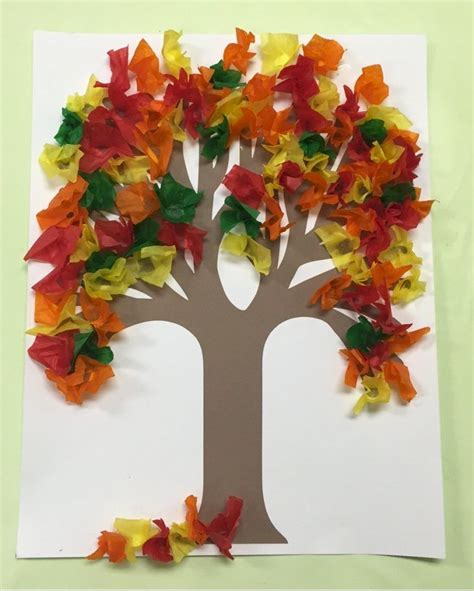 fall tissue paper tree kids fall crafts fall arts