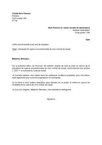 rupture conventionnelle pour un cadre exemple de lettre de fin de contrat mod 232 le de lettre