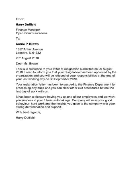 Resignation Acceptance Letter Sample - Edit, Fill, Sign Online | Handypdf