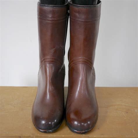 vintage red brown rubber fleece granny rain snow boots