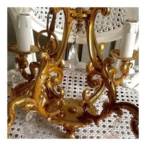 lustre cage ancien en bronze 3 branches 224 pilles de style louis xv