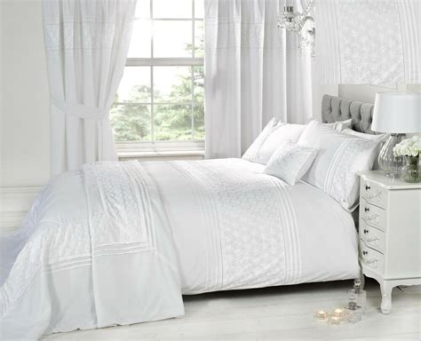 Bedroom Drapes And Bedspread - luxury white bedding bed sets or curtains matching
