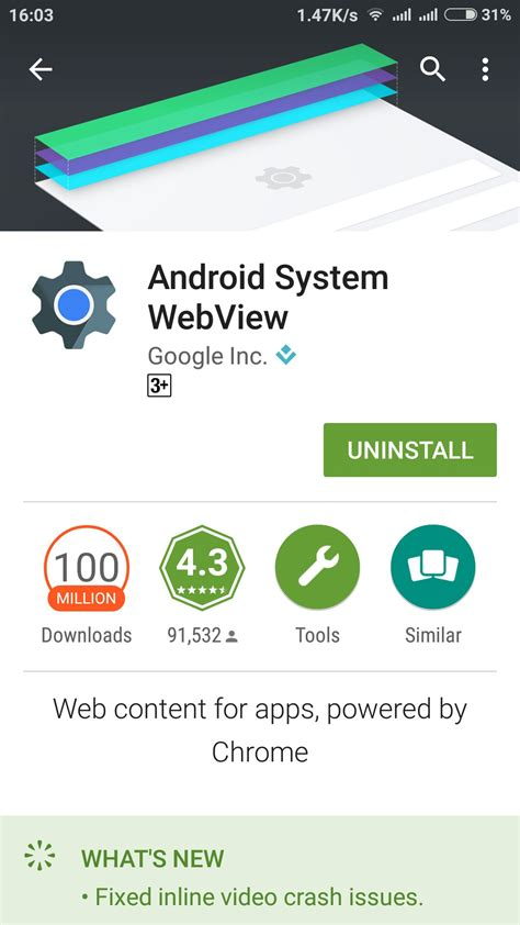 android system what is the use of android system webview android