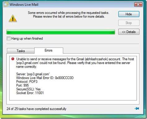 did you say net windows live mail error id 0x800ccc0d
