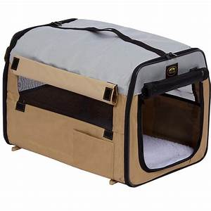 pet life lightweight khaki folding collapsible zippered With collapsible mesh dog crate