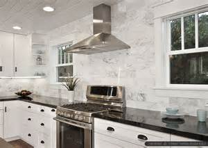 Marble Subway Tile Kitchen Backsplash Black Countertop Backsplash Ideas Backsplash