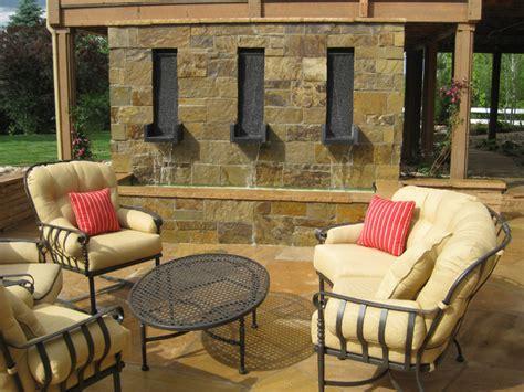 custom wall water feature rustic patio denver