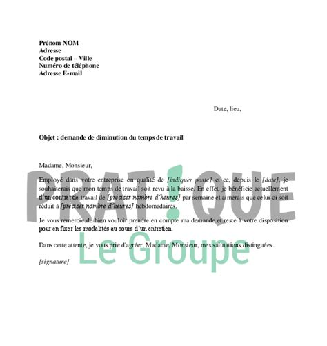 Modification Contrat De Travail Salarié Handicapé by Letter Of Application Modele De Lettre De Diminution