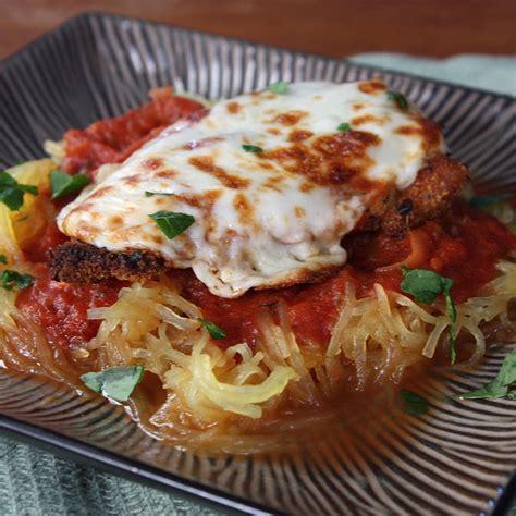 chicken parmesan spaghetti squash baked chicken parm spaghetti squash get off your tush and cook