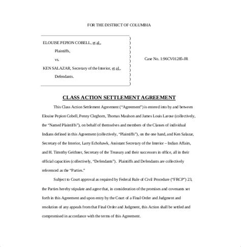 commitment action document template 12 settlement agreement templates free sle exle