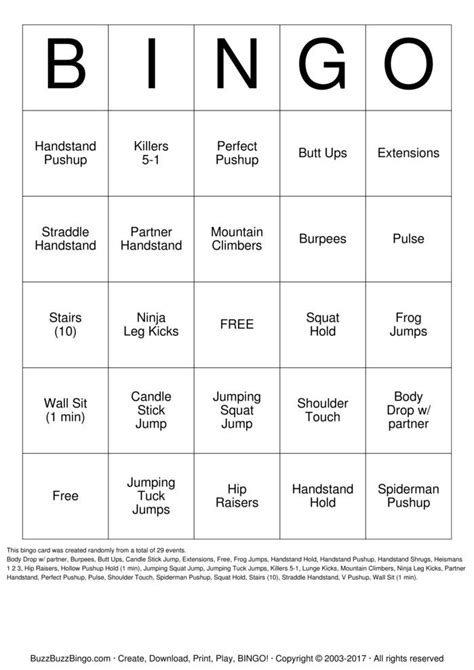 gymnastics bingo cards   print  customize