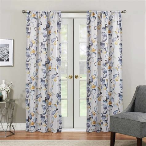 yellow floral drapes floral thermaweave blackout curtain panel blue