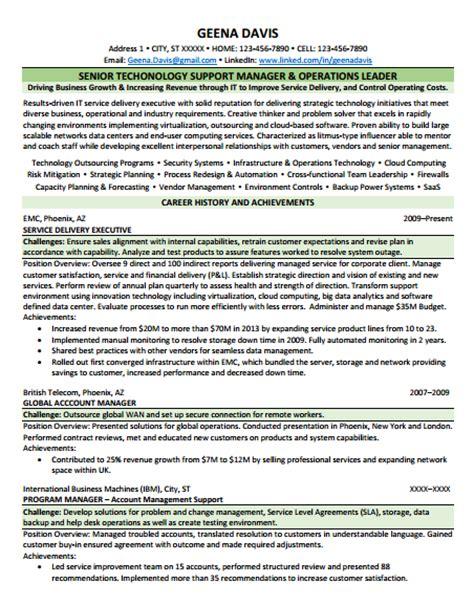 Senior Technology Manager Resume by Work Sles Ventureready Llc