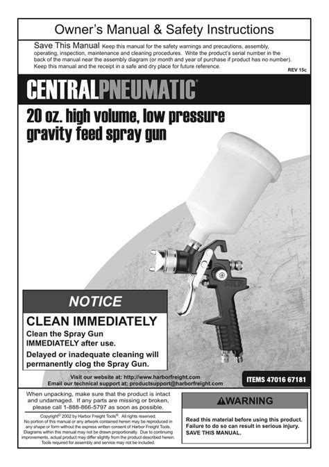 Central Pneumatic 47016 67181 Owner`s manual | Manualzz