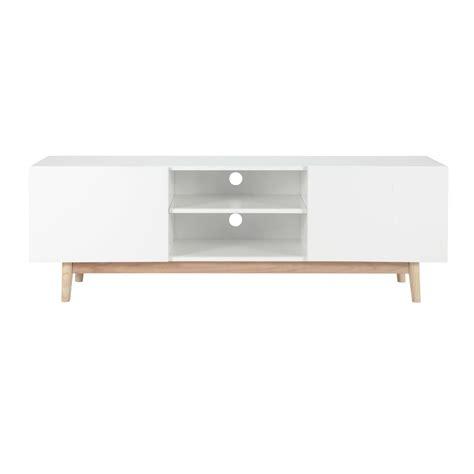 meuble tv vintage en bois blanc l 150 cm artic maisons du monde