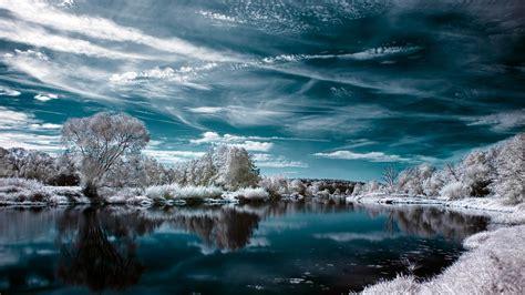 full hd wallpaper lake winter snow cloud desktop