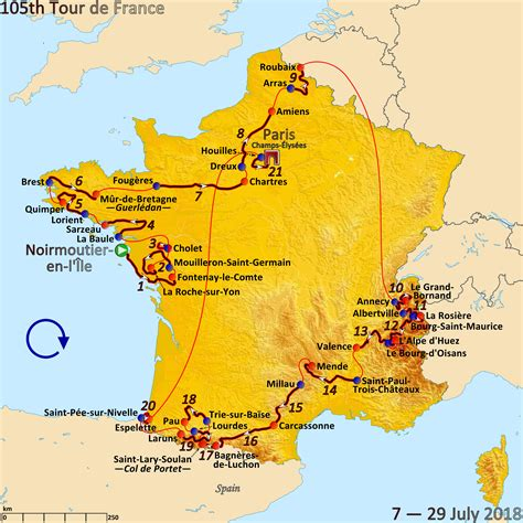In 2021 the tour de france will take riders right across france twice, once from the northwest to the alps, and then from the alps to the southwest, taking in some inevitable days of gruelling mountain roads in the alps and the pyrenees. Datei:Route of the 2018 Tour de France.png - Wikipedia