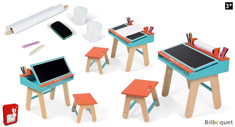 bureau janod bureau et tabouret d 39 écolier orange et bleu mobilier
