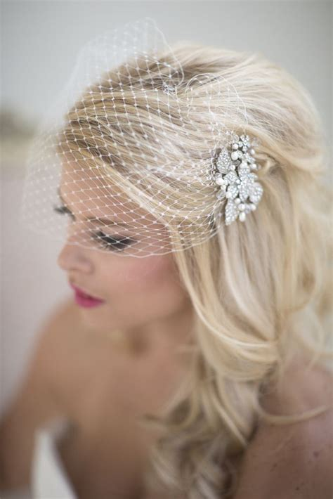 Birdcage Wedding Veil Hairstyle With Long Hair For Brides