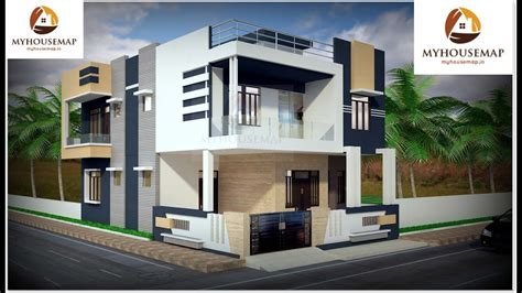 White Blue Color Home Design And C Shape Balcony With