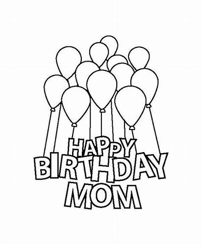 Birthday Coloring Happy Pages Mom Printable Template