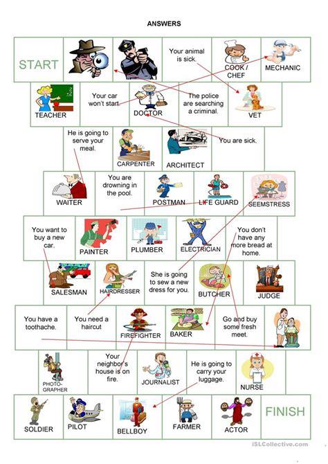 Board Game  Jobs Worksheet  Free Esl Printable