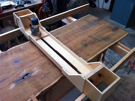build  router jig  plane  large walnut slab