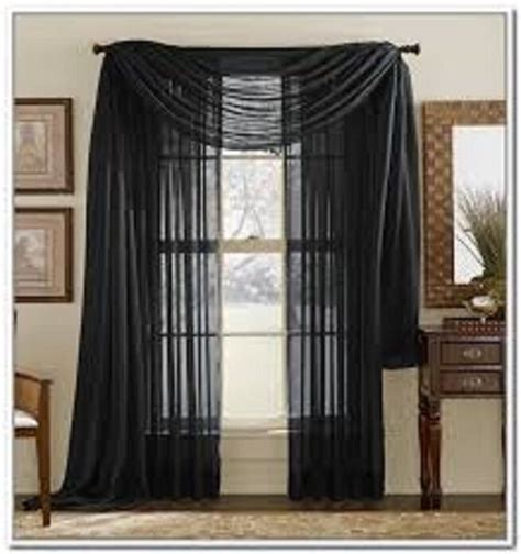Drapes Sizes - black solid scarf sheer voile window curtain drapes