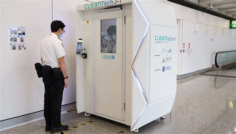 hong kong airport shows   full body disinfectant booths  cleaning robots newshub