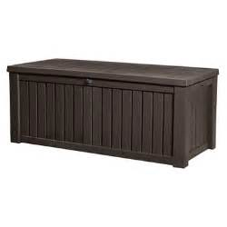 keter rockwood outdoor plastic deck storage container box 150 gal brown sam s club