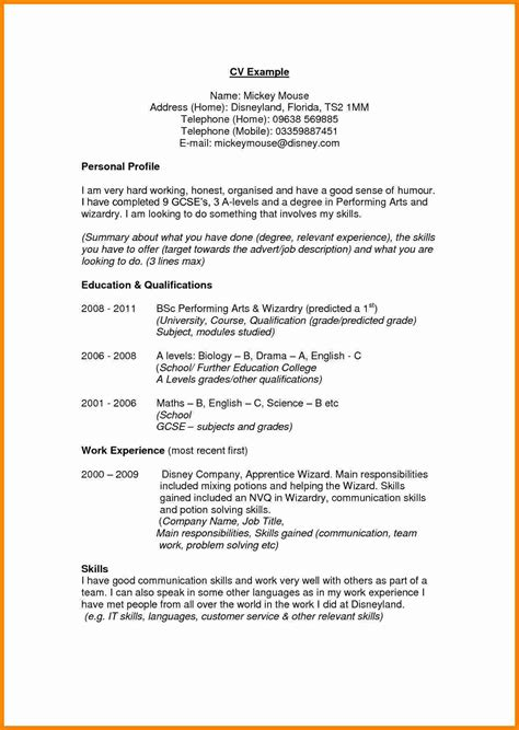 Profile Resume by 9 Cv Profile Exles Theorynpractice