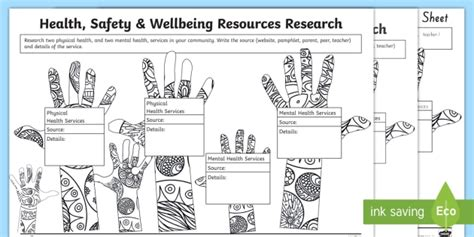 new health safety and wellbeing research worksheet