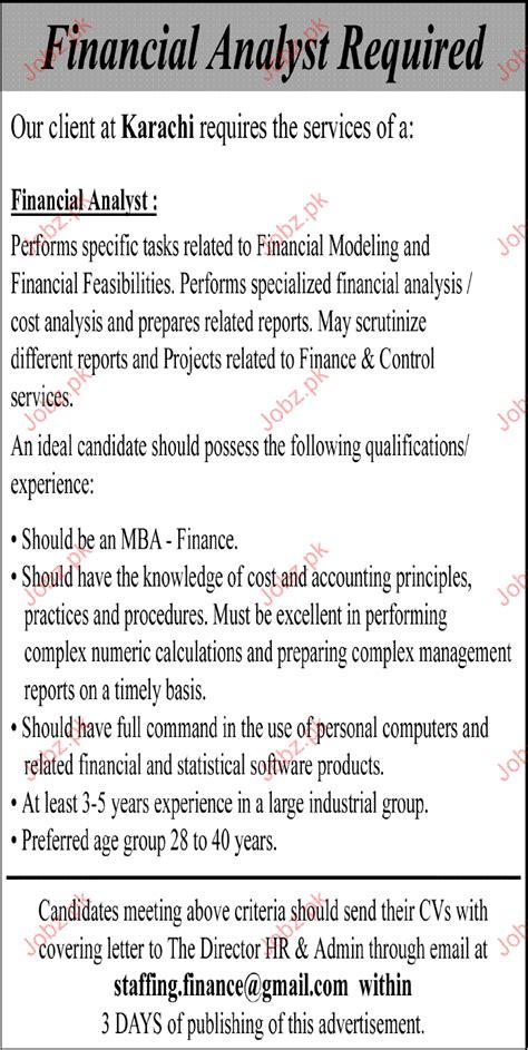 financial analyst description resume summary