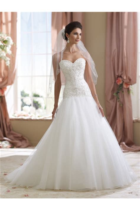 cutest wedding dresses trumpet strapless tulle lace beaded wedding dress
