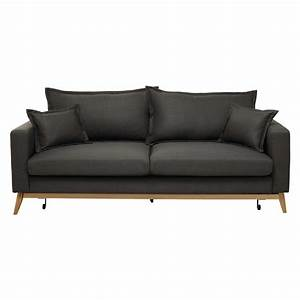 3 seater fabric sofa bed in grey brown duke maisons du monde for 3 seater sectional sofa bed